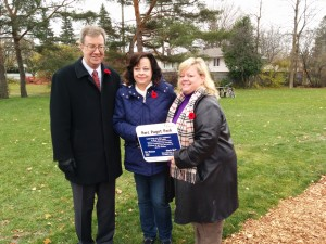 Mayor Jim Watson, RPCRA's Carolyn Gauthier, and River Ward Councillor Maria McRae. Carolyn was presented with a park sign in recognition of her work to improve Paget Park.